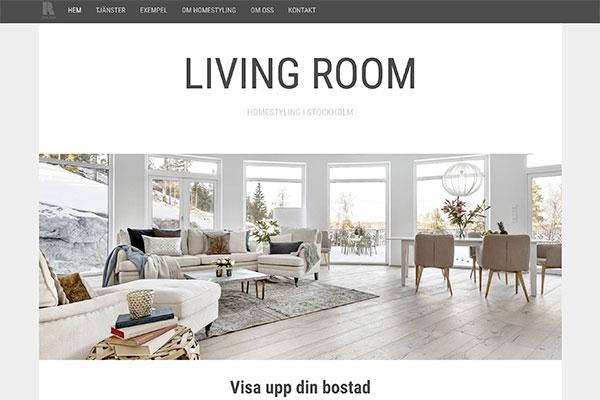 Stilren webbplats för heminredingsföretag